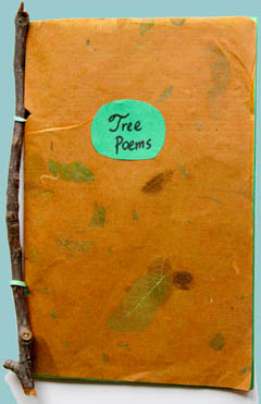 Tree Poems, , made with twig, handmade leaf paper, rubber band